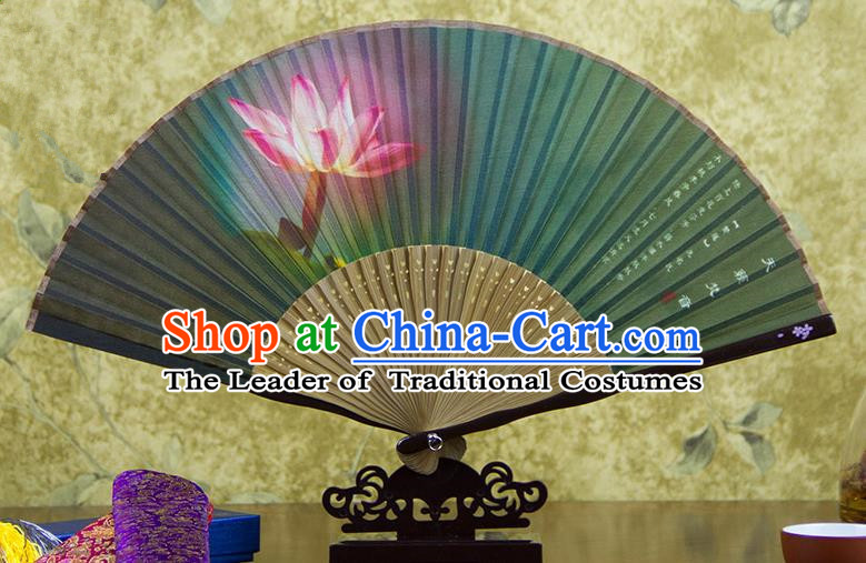 Traditional Chinese Handmade Crafts Folding Fan, China Printing Lotus Flower Sensu Green Silk Fan Hanfu Fans for Women