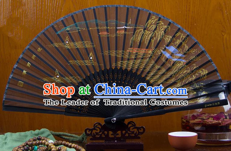 Traditional Chinese Handmade Crafts Folding Fan, China Printing West Lake Scenery Sensu Silk Fan Hanfu Fans for Women