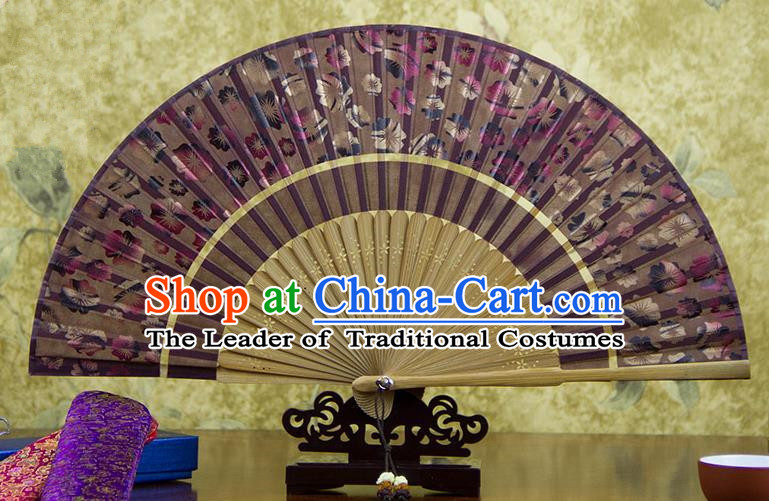 Traditional Chinese Handmade Crafts Two-segment Folding Fan, China Printing Flowers Sensu Brick Red Silk Fan Hanfu Fans for Women