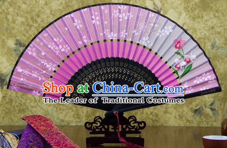 Traditional Chinese Handmade Crafts Two-segment Folding Fan, China Printing Flowers Sensu Pink Silk Fan Hanfu Fans for Women