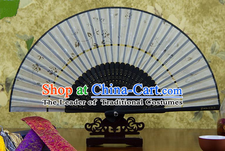 Traditional Chinese Handmade Crafts Two-segment Folding Fan, China Printing Flowers Sensu Grey Silk Fan Hanfu Fans for Women