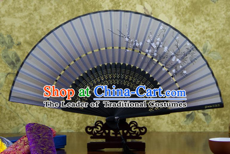 Traditional Chinese Handmade Crafts Two-segment Folding Fan, China Printing Plum Blossom Sensu Grey Silk Fan Hanfu Fans for Women