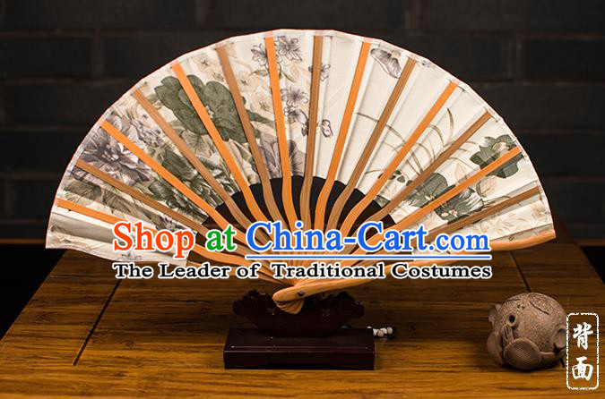 Traditional Chinese Handmade Crafts Folding Fan, China Printing Summer Lotus Sensu Silk Fan Hanfu Fans for Women