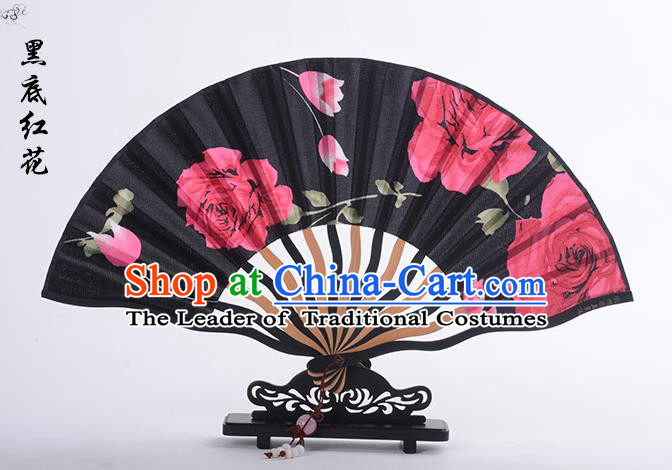 Traditional Chinese Handmade Crafts Folding Fan, China Printing Red Rose Sensu Black Silk Fan Hanfu Fans for Women