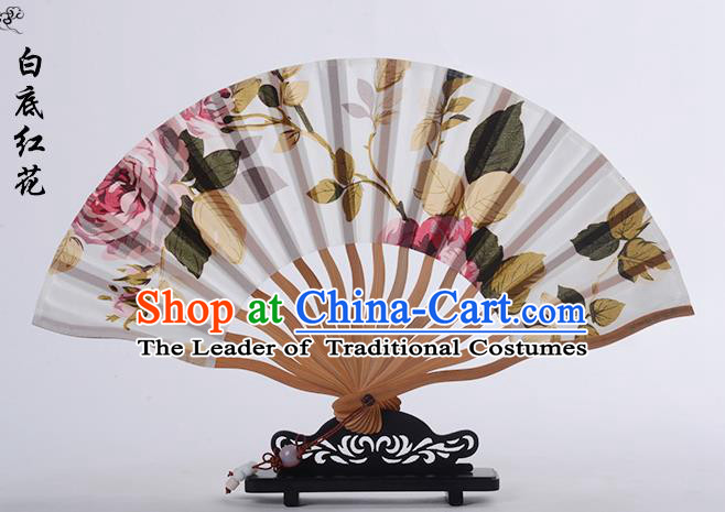 Traditional Chinese Handmade Crafts Folding Fan, China Printing Red Rose Sensu White Silk Fan Hanfu Fans for Women