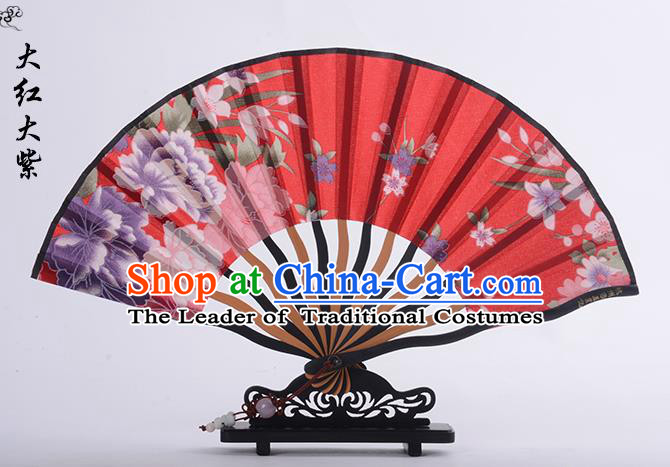 Traditional Chinese Handmade Crafts Folding Fan, China Printing Flower Sensu Red Silk Fan Hanfu Fans for Women