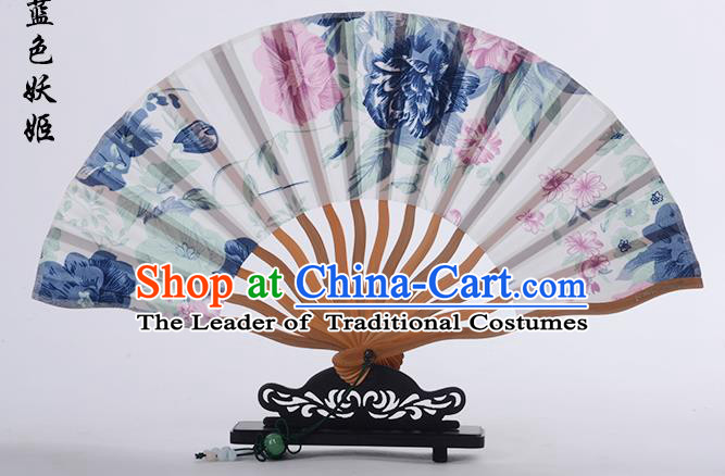 Traditional Chinese Handmade Crafts Folding Fan, China Printing Blue Flower Sensu White Silk Fan Hanfu Fans for Women