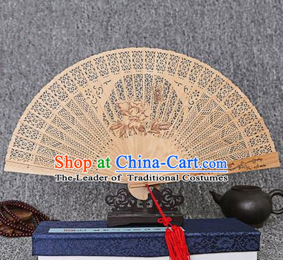 Traditional Chinese Handmade Crafts Sandalwood Folding Fan, China Classical Butterfly Flower Sensu Hollow Out Wood Fan Hanfu Fans for Women