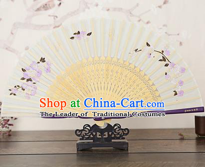 Traditional Chinese Handmade Crafts Bamboo Rib Folding Fan, China Classical Printing Peach Flowers Sensu Beige Silk Fan Hanfu Fans for Women