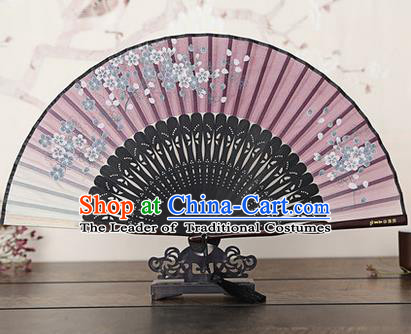 Traditional Chinese Handmade Crafts Bamboo Rib Folding Fan, China Classical Printing Peach Flowers Sensu Gradient Silk Fan Hanfu Fans for Women