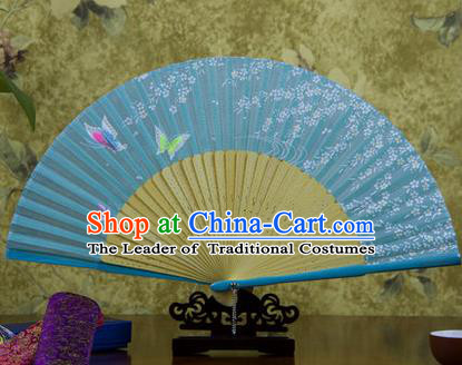 Traditional Chinese Handmade Crafts Bamboo Rib Folding Fan, China Classical Printing Butterfly Sensu Blue Silk Fan Hanfu Fans for Women