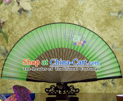 Traditional Chinese Handmade Crafts Bamboo Rib Folding Fan, China Classical Printing Flowers Sensu Green Silk Fan Hanfu Fans for Women