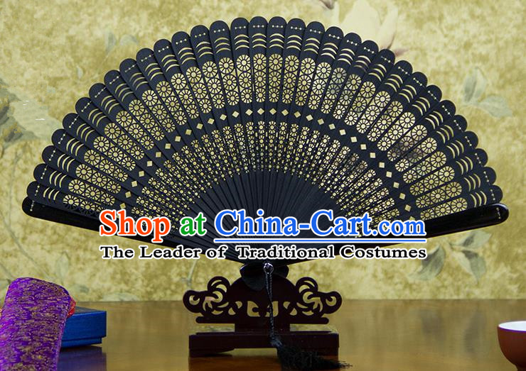 Traditional Chinese Handmade Crafts Bamboo Carving Folding Fan, China Classical Printing Rosa Chinensis Sensu Hollow Out Wood Black Fan Hanfu Fans for Women