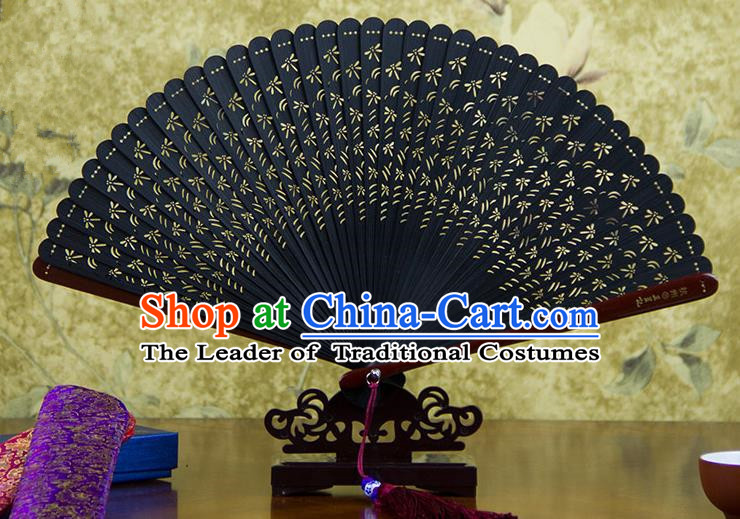 Traditional Chinese Handmade Crafts Bamboo Carving Folding Fan, China Classical Dragonfly Sensu Hollow Out Wood Black Fan Hanfu Fans for Women