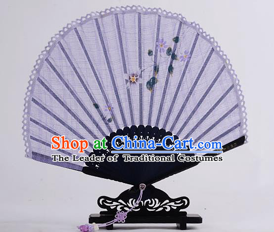 Traditional Chinese Handmade Crafts Hand Painting Flower Folding Fan, China Classical Linen Sensu Sunflower-type Lilac Fan Hanfu Fans for Women
