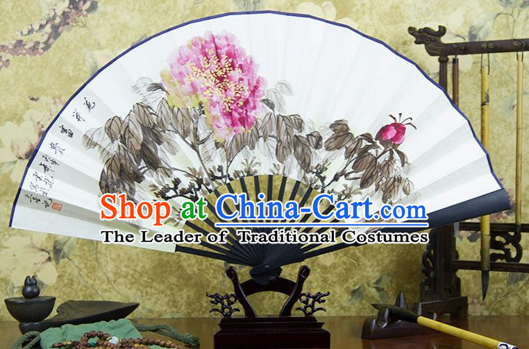 Traditional Chinese Handmade Crafts Ebonize Folding Fan, China Classical Art Paper Sensu Ink Painting Peony Xuan Paper Purple Fan Hanfu Fans for Men
