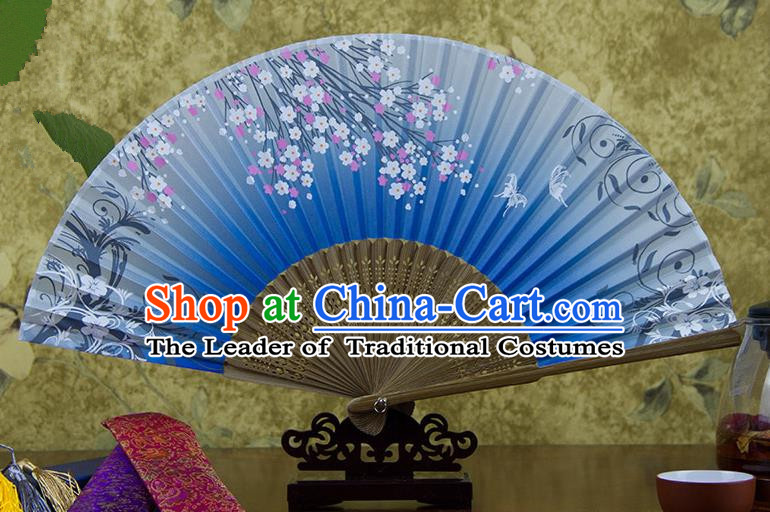 Traditional Chinese Handmade Crafts Hand Painting Butterfly Flowers Folding Fan, China Classical Blue Sensu Silk Fan Hanfu Fans for Women