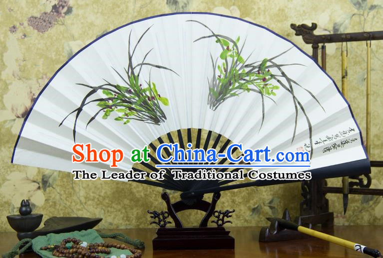 Traditional Chinese Handmade Crafts Ebonize Folding Fan, China Classical Art Paper Sensu Ink Painting Orchid Xuan Paper Purple Fan Hanfu Fans for Men