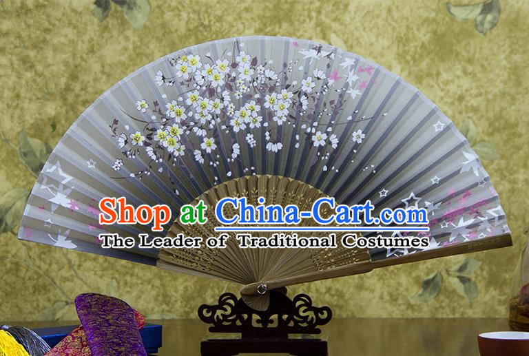 Traditional Chinese Handmade Crafts Hand Painting Flowers Folding Fan, China Classical Oriental Cherry Sensu Grey Silk Fan Hanfu Fans for Women