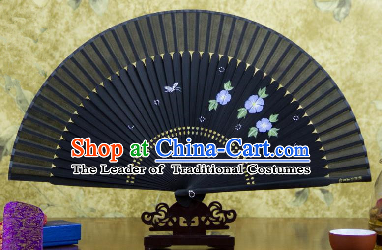 Traditional Chinese Handmade Crafts Hand Painting Flowers Folding Fan, China Classical Black Sensu Silk Fan Hanfu Fans for Women