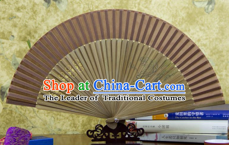 Traditional Chinese Handmade Crafts Hand Painting Tiger Folding Fan, China Classical Brown Sensu Silk Fan Hanfu Fans for Women