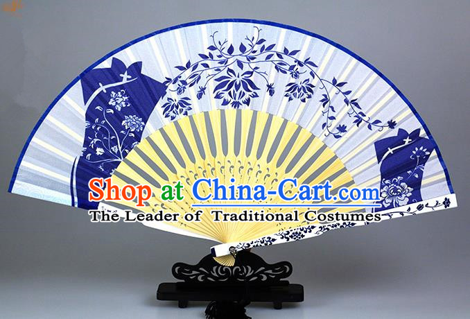 Traditional Chinese Handmade Crafts Blue and White Porcelain Folding Fan, China Classical Cheongsam Sensu Silk Fan Hanfu Fans for Women