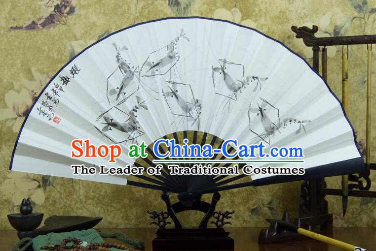 Traditional Chinese Handmade Crafts Ebonize Folding Fan, China Classical Art Paper Sensu Ink Painting Shrimp Xuan Paper Purple Fan Hanfu Fans for Men