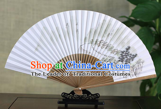 Traditional Chinese Handmade Crafts Ink Painting Scenery Folding Fan, China Classical Art Paper Sensu Xuan Paper Fan Hanfu Fans for Men