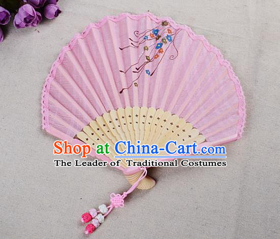 Traditional Chinese Handmade Crafts Hand Painting Flower Folding Fan, China Classical Linen Sensu Sunflower-type Pink Fan Hanfu Fans for Women