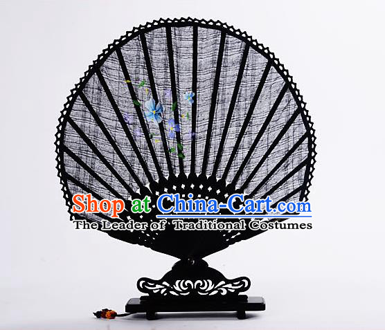 Traditional Chinese Handmade Crafts Hand Painting Flower Folding Fan, China Classical Linen Sensu Sunflower-type Black Fan Hanfu Fans for Women