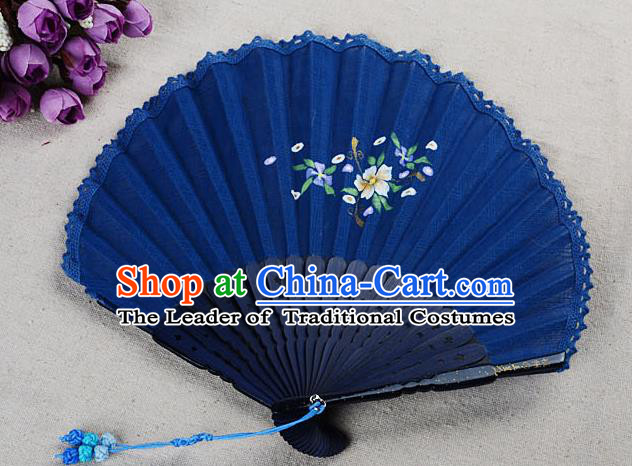 Traditional Chinese Handmade Crafts Hand Painting Flower Folding Fan, China Classical Linen Sensu Sunflower-type Blue Fan Hanfu Fans for Women