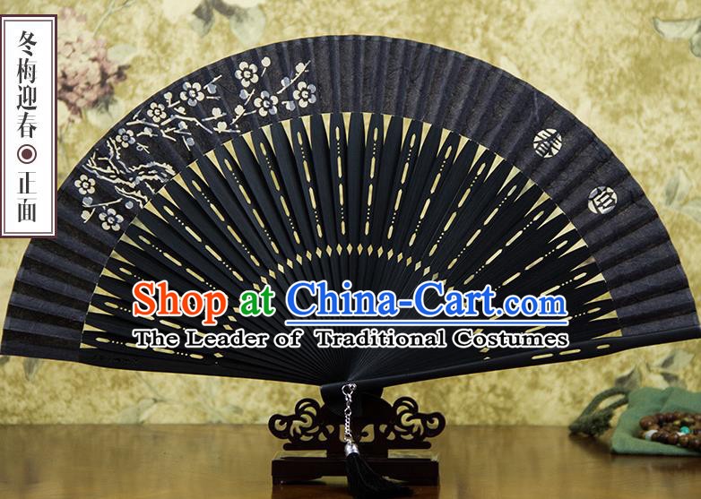 Traditional Chinese Handmade Crafts Silk Folding Fan, China Classical Sensu Printing Winter Plum Fan Hanfu Fans for Men