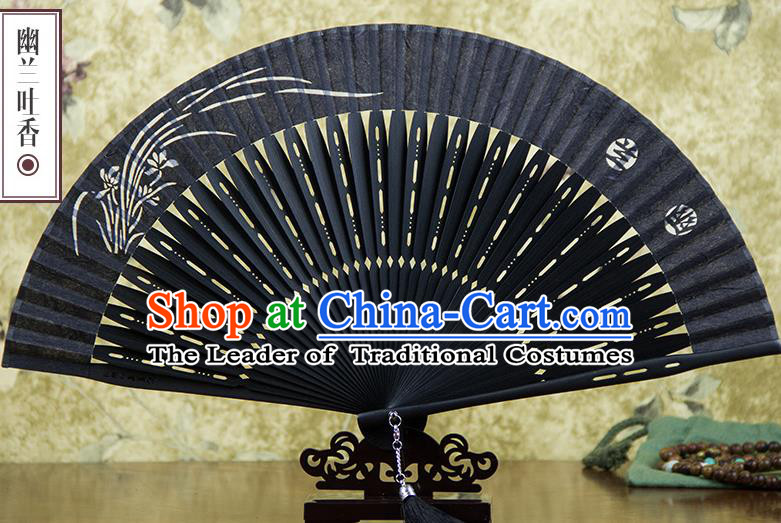Traditional Chinese Handmade Crafts Silk Folding Fan, China Classical Sensu Printing Orchid Fan Hanfu Fans for Men