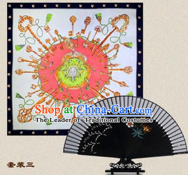 Traditional Chinese Handmade Crafts Silk Folding Fan and Scarves, China Classical Black Sensu Peach Blossom Fan Hanfu Fans for Women