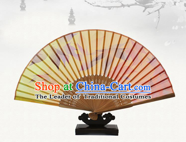 Traditional Chinese Handmade Crafts Silk Folding Fan, China Classical Chiffon Sensu Printing Maple Leaf Fan Hanfu Fans for Women