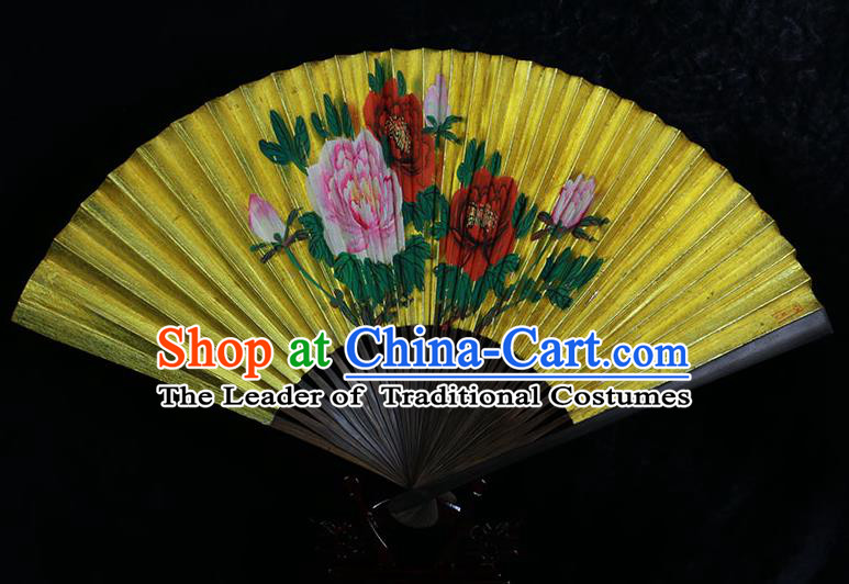 Traditional Chinese Handmade Crafts Llluminated Surface Folding Fan, China Classical Art Paper Hand Painting Peony Sensu Xuan Paper Fan Hanfu Fans for Men