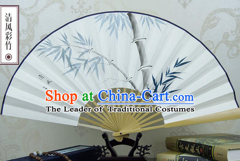 Traditional Chinese Handmade Crafts Xuan Paper Folding Fan, China Classical Art Paper Sensu Ink Painting Bamboo Fan Hanfu Fans for Men