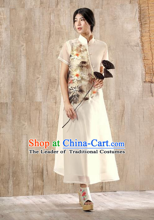 Traditional Chinese Costume Elegant Hanfu Printing Lotus Silk Dress, China Tang Suit Plated Buttons Cheongsam Beige Qipao Dress Clothing for Women