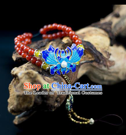 Traditional Chinese Accessories National Cloisonn Bracelet, China Ancient Agate Beads Bangle for Women
