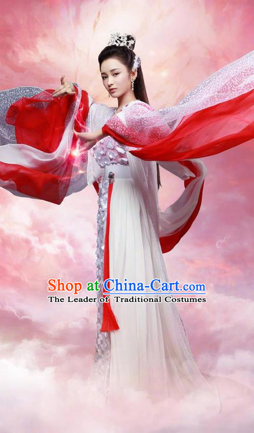 Traditional Ancient Chinese Imperial Princess Dress Clothing, Chinese Ancient Swordswoman Fairy Costume and Headpiece Complete Set
