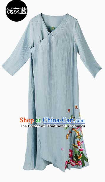 Traditional Chinese Costume Elegant Hanfu Embroidered Dress, China Tang Suit Blue Qipao Dress Clothing for Women