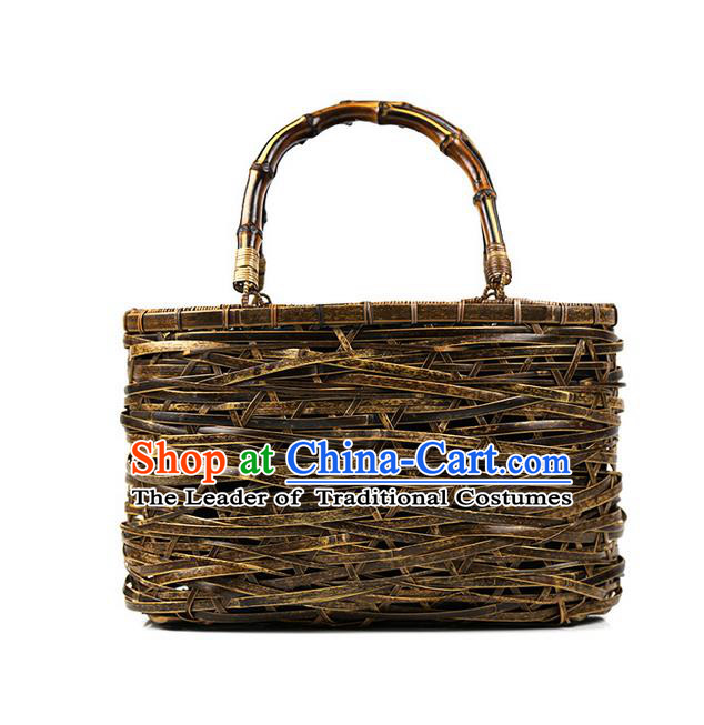 Traditional Chinese Accessories National Bamboo Plaiting Article Handbag for Women