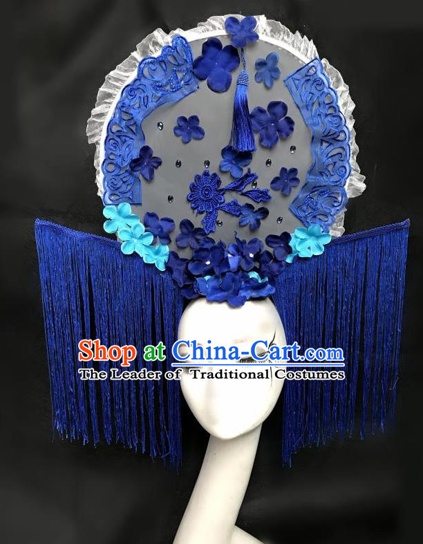 Top Grade Chinese Theatrical Headdress Ornamental Flowers Floral Hair Accessories, Ceremonial Occasions Handmade Traditional Manchu Princess Tassel Headdress for Women