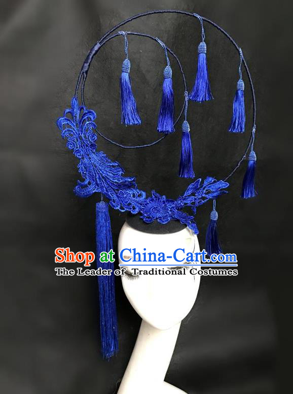Top Grade Chinese Theatrical Headdress Ornamental Flowers Floral Hair Accessories, Ceremonial Occasions Handmade Traditional Tassel Headdress for Women