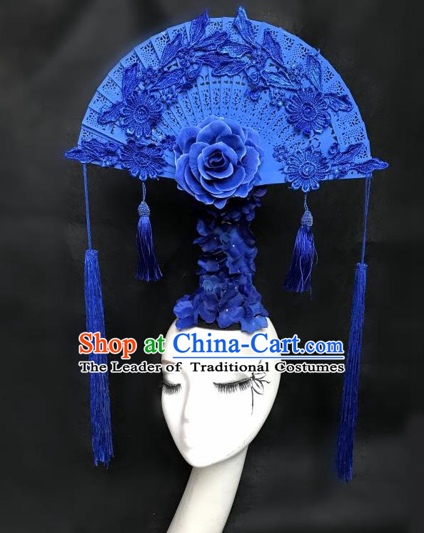 Top Grade Chinese Theatrical Headdress Ornamental Flowers Floral Hair Accessories Headwear, Ceremonial Occasions Handmade Traditional Manchu Headdress for Women
