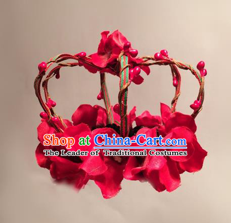 Top Grade Chinese Theatrical Headdress Ornamental Red Flowers Hair Accessories, Ceremonial Occasions Handmade Halloween Royal Crown for Women