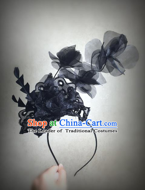 Top Grade Chinese Theatrical Luxury Headdress Ornamental Silk Flower Hair Clasp, Halloween Fancy Ball Ceremonial Occasions Handmade Headwear for Women