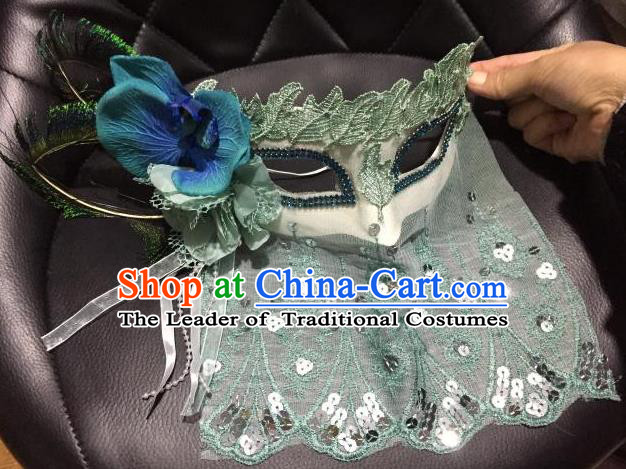 Top Grade Chinese Theatrical Luxury Headdress Ornamental Green Lace Mask, Halloween Fancy Ball Ceremonial Occasions Handmade Flower Face Mask for Women