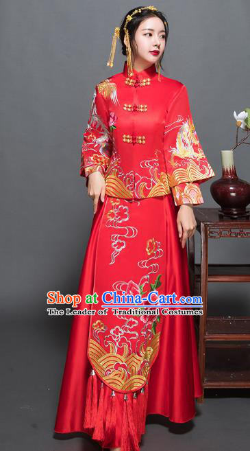 Traditional Ancient Chinese Wedding Costume Handmade XiuHe Suits Embroidery Peony Dress Bride Toast Red Plated Buttons Cheongsam, Chinese Style Hanfu Wedding Clothing for Women