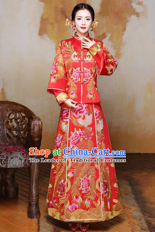 Traditional Ancient Chinese Wedding Costume Handmade XiuHe Suits Embroidery Phoenix Longfeng Gown Bride Toast Plated Buttons Cheongsam, Chinese Style Hanfu Wedding Clothing for Women